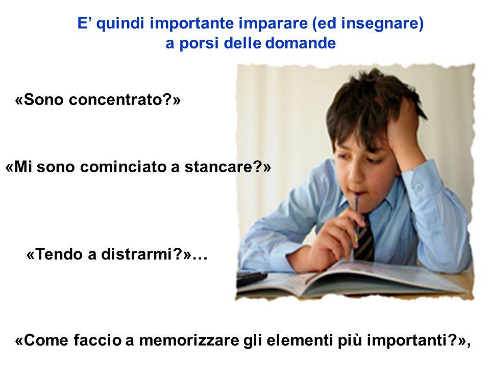 E' quindi importante imparare (ed insegnare) a porsi delle domande «Sono concentrato?» «Mi sono cominciato a stancare?» «Come faccio a memorizzare gli