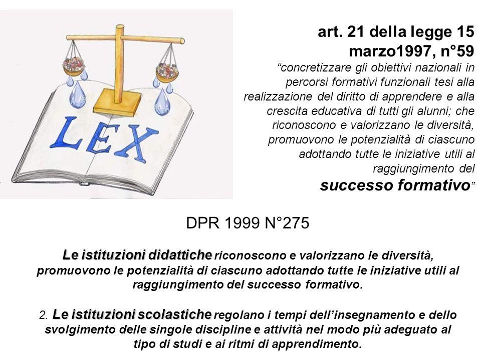 """art. 21 della legge 15 marzo1997, n°59 """"concretizzare gli obiettivi nazionali in percorsi formativi funzionali tesi alla realizzazione del diritto di"""