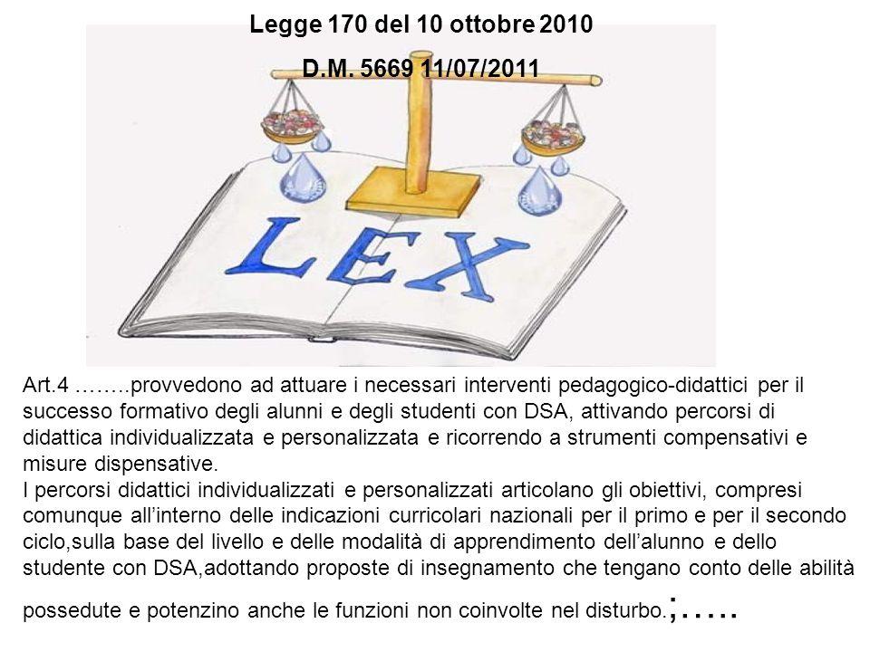 Art.4 ……..provvedono ad attuare i necessari interventi pedagogico-didattici per il successo formativo degli alunni e degli studenti con DSA, attivando