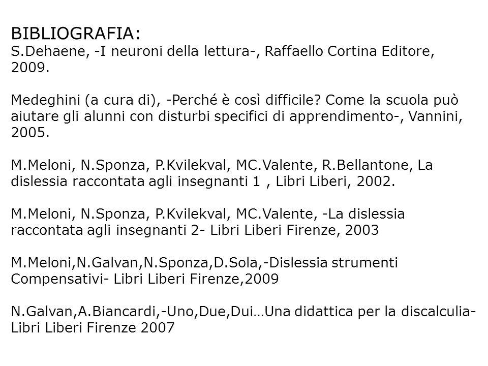 BIBLIOGRAFIA: S.Dehaene, -I neuroni della lettura-, Raffaello Cortina Editore, 2009. Medeghini (a cura di), -Perché è così difficile? Come la scuola p