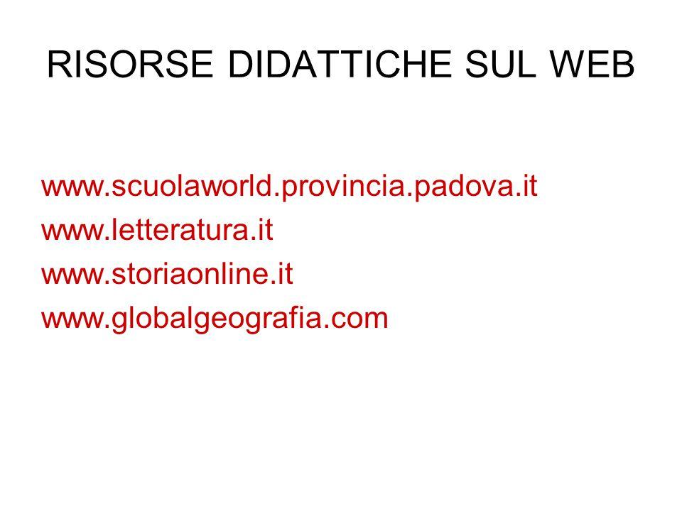 RISORSE DIDATTICHE SUL WEB www.scuolaworld.provincia.padova.it www.letteratura.it www.storiaonline.it www.globalgeografia.com