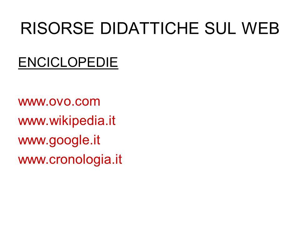 RISORSE DIDATTICHE SUL WEB ENCICLOPEDIE www.ovo.com www.wikipedia.it www.google.it www.cronologia.it