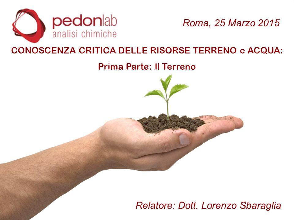 CONOSCENZA CRITICA DELLE RISORSE TERRENO e ACQUA: Prima Parte: Il Terreno Relatore: Dott. Lorenzo Sbaraglia Roma, 25 Marzo 2015