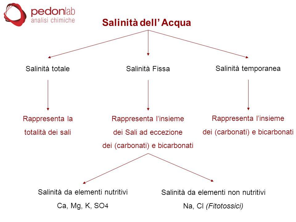 Salinità dell' Acqua Salinità totale Rappresenta la totalità dei sali Salinità Fissa Rappresenta l'insieme dei Sali ad eccezione dei (carbonati) e bic