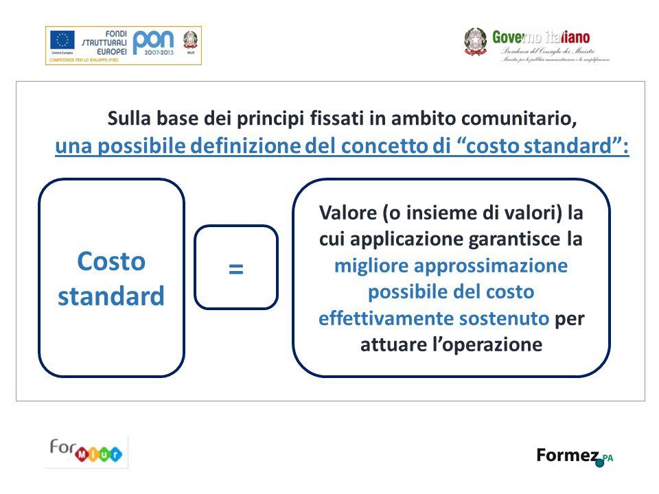 """Sulla base dei principi fissati in ambito comunitario, una possibile definizione del concetto di """"costo standard"""": Costo standard Valore (o insieme di"""