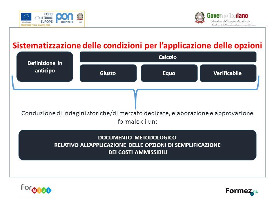 Sistematizzazione delle condizioni per l'applicazione delle opzioni Conduzione di indagini storiche/di mercato dedicate, elaborazione e approvazione f