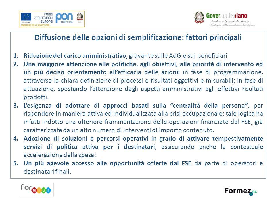 Diffusione delle opzioni di semplificazione: fattori principali 1.Riduzione del carico amministrativo, gravante sulle AdG e sui beneficiari 2.Una magg