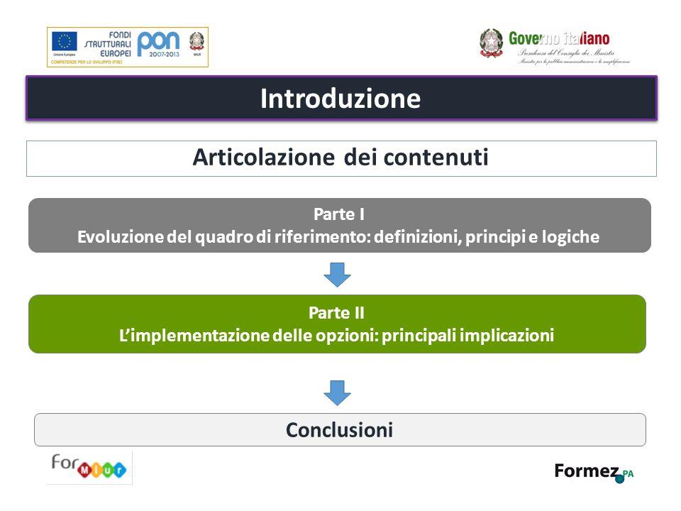 Introduzione Parte I Evoluzione del quadro di riferimento: definizioni, principi e logiche Parte II L'implementazione delle opzioni: principali implic
