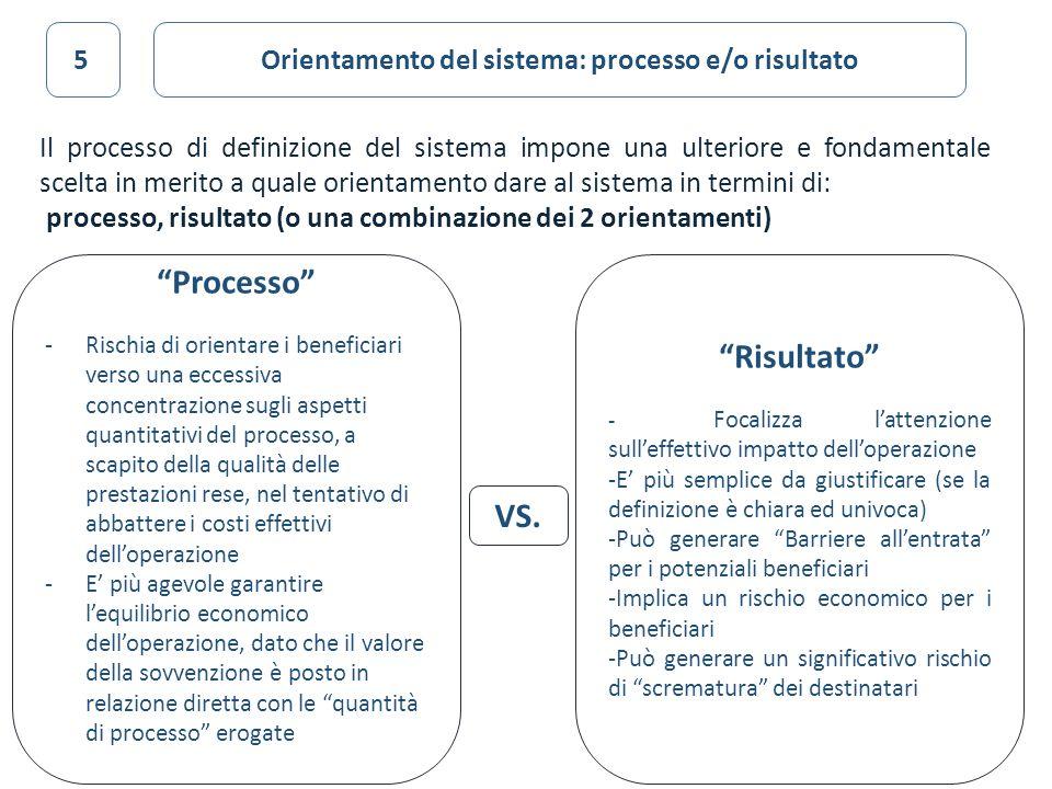 33 Il processo di definizione del sistema impone una ulteriore e fondamentale scelta in merito a quale orientamento dare al sistema in termini di: pro