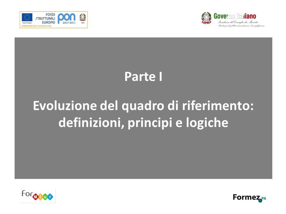 Parte I - Evoluzione del quadro di riferimento: definizioni, principi e logiche 1.