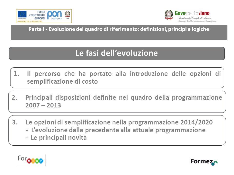 Parte I - Evoluzione del quadro di riferimento: definizioni, principi e logiche 1. Il percorso che ha portato alla introduzione delle opzioni di sempl