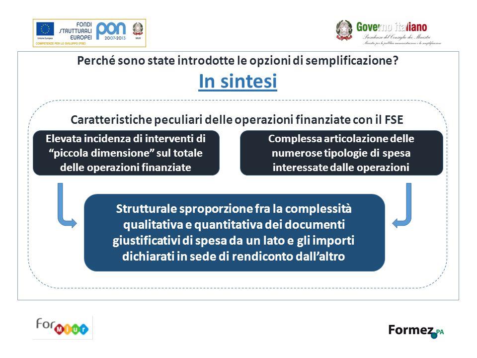 Perché sono state introdotte le opzioni di semplificazione? In sintesi Caratteristiche peculiari delle operazioni finanziate con il FSE Strutturale sp