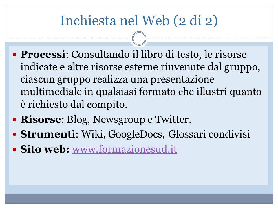 Inchiesta nel Web (2 di 2) Processi: Consultando il libro di testo, le risorse indicate e altre risorse esterne rinvenute dal gruppo, ciascun gruppo r