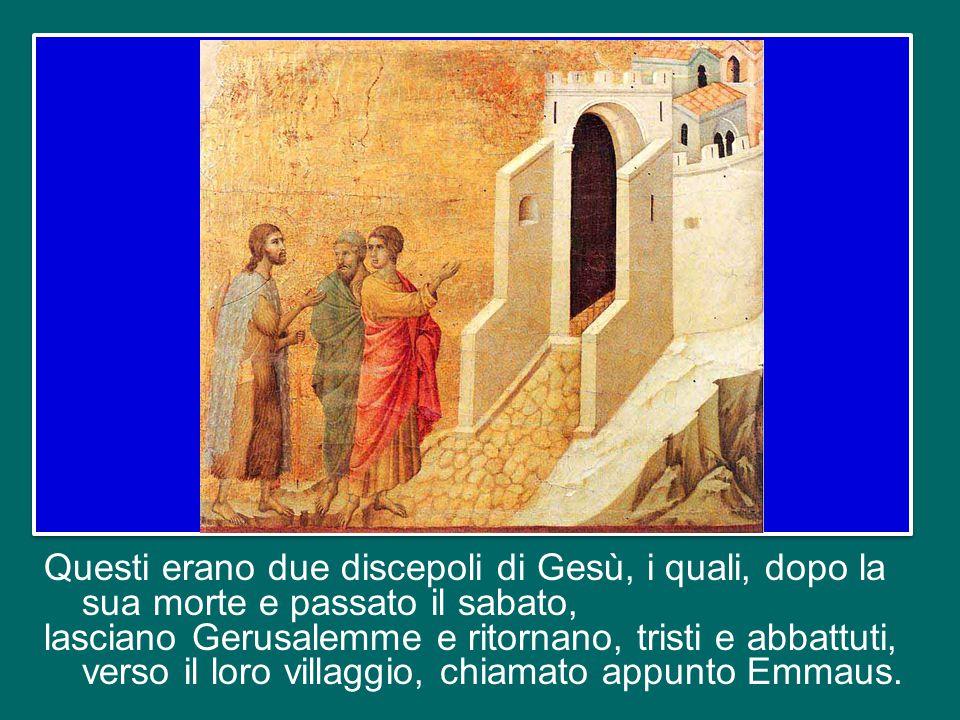 il Vangelo di questa domenica, che è la terza domenica di Pasqua, è quello dei discepoli di Emmaus (cfr Lc 24,13-35).