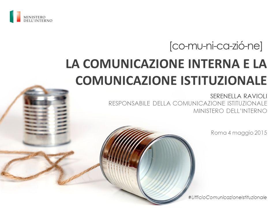 [co-mu-ni-ca-zió-ne] LA COMUNICAZIONE INTERNA E LA COMUNICAZIONE ISTITUZIONALE SERENELLA RAVIOLI RESPONSABILE DELLA COMUNICAZIONE ISTITUZIONALE MINIST