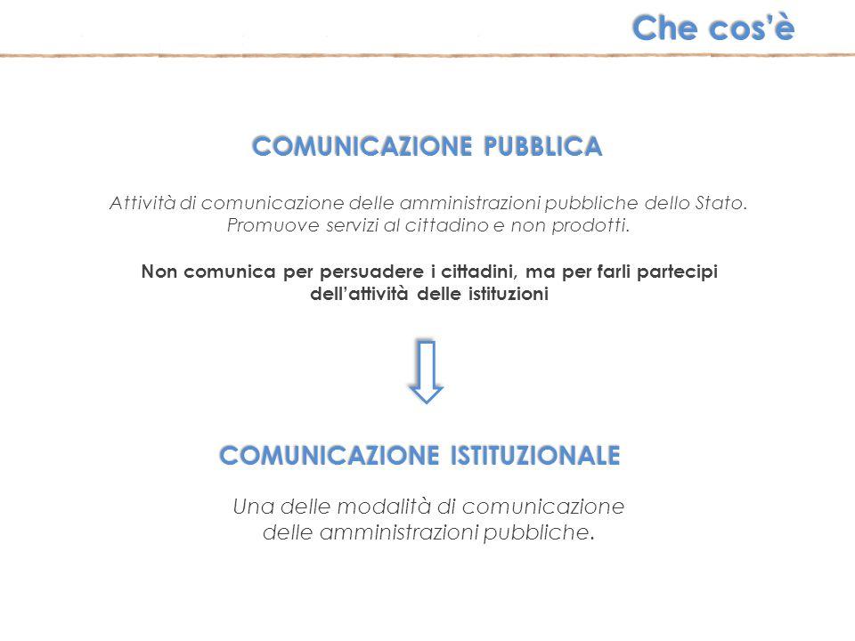 COMUNICAZIONE PUBBLICA Attività di comunicazione delle amministrazioni pubbliche dello Stato. Promuove servizi al cittadino e non prodotti. Non comuni