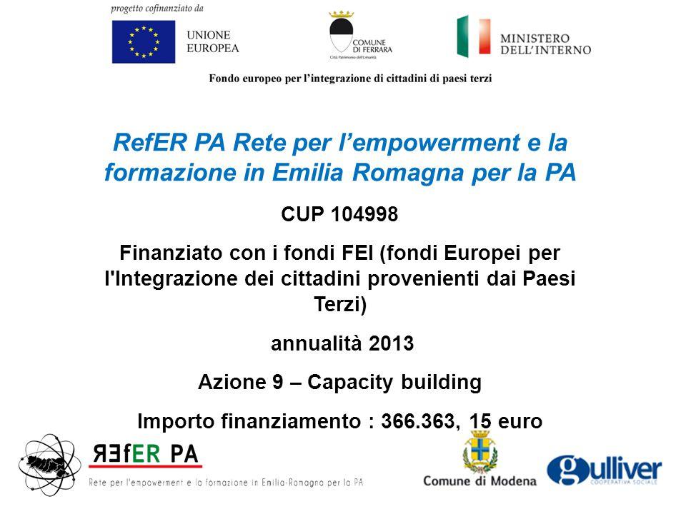 RefER PA Rete per l'empowerment e la formazione in Emilia Romagna per la PA CUP 104998 Finanziato con i fondi FEI (fondi Europei per l Integrazione dei cittadini provenienti dai Paesi Terzi) annualità 2013 Azione 9 – Capacity building Importo finanziamento : 366.363, 15 euro