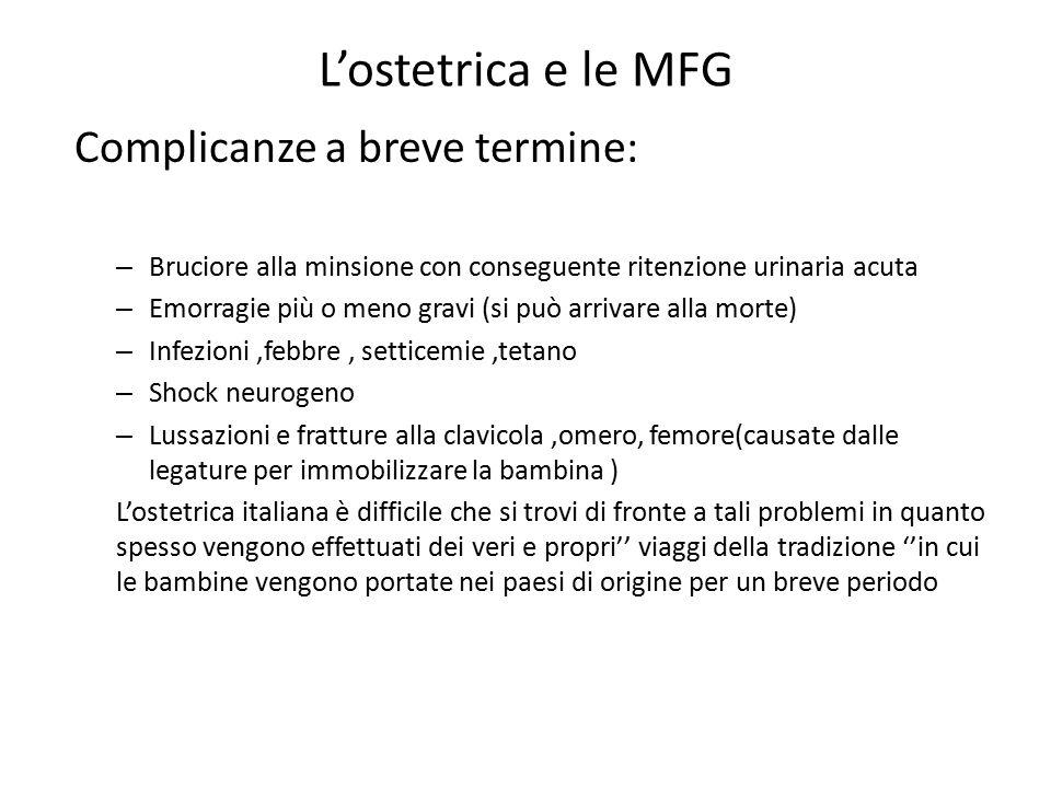 L'ostetrica e le MFG Complicanze a breve termine: – Bruciore alla minsione con conseguente ritenzione urinaria acuta – Emorragie più o meno gravi (si