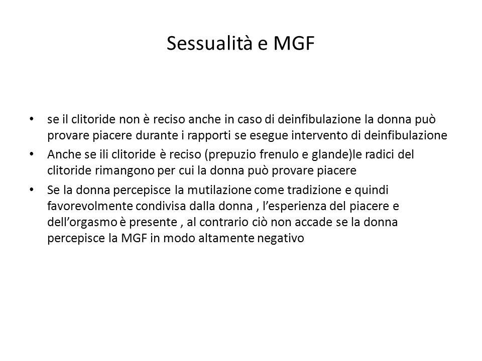 Sessualità e MGF se il clitoride non è reciso anche in caso di deinfibulazione la donna può provare piacere durante i rapporti se esegue intervento di