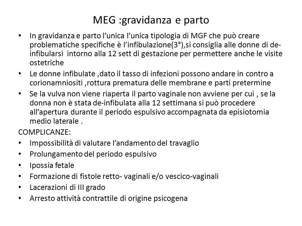 MEG :gravidanza e parto In gravidanza e parto l'unica l'unica tipologia di MGF che può creare problematiche specifiche è l'infibulazione(3°),si consig