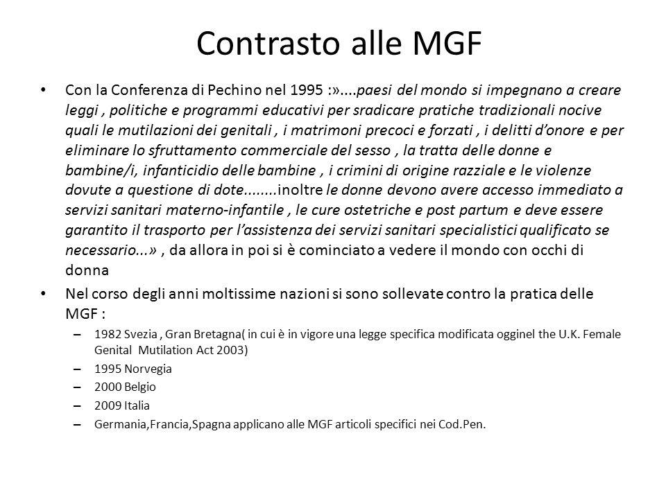 Contrasto alle MGF Con la Conferenza di Pechino nel 1995 :»....paesi del mondo si impegnano a creare leggi, politiche e programmi educativi per sradic