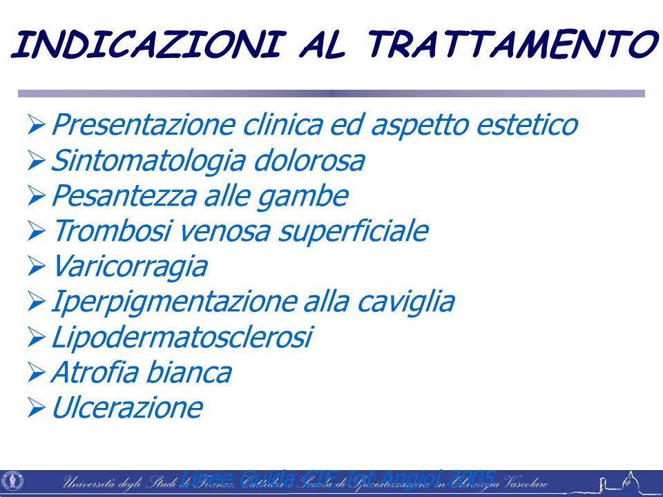 Università degli Studi di Firenze, Cattedra e Scuola di Specializzazione in Chirurgia Vascolare Linee Guida CIF, Int Angiol 2005 INDICAZIONI AL TRATTA