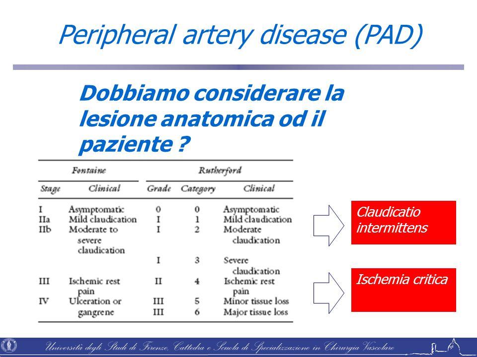 Università degli Studi di Firenze, Cattedra e Scuola di Specializzazione in Chirurgia Vascolare Peripheral artery disease (PAD) Dobbiamo considerare l