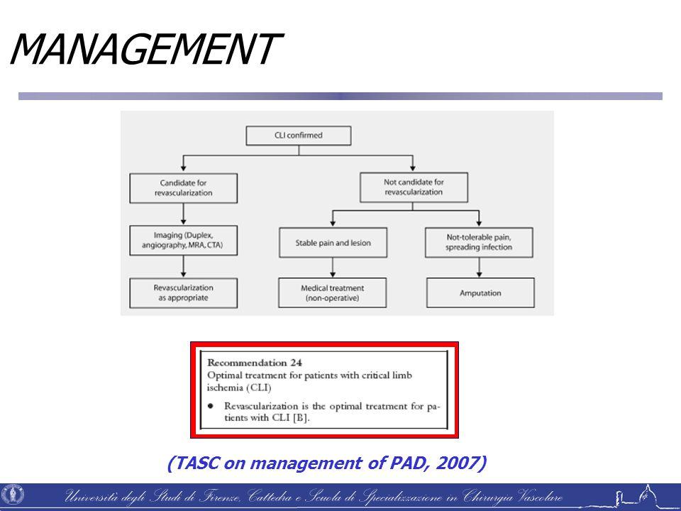 Università degli Studi di Firenze, Cattedra e Scuola di Specializzazione in Chirurgia Vascolare MANAGEMENT (TASC on management of PAD, 2007)