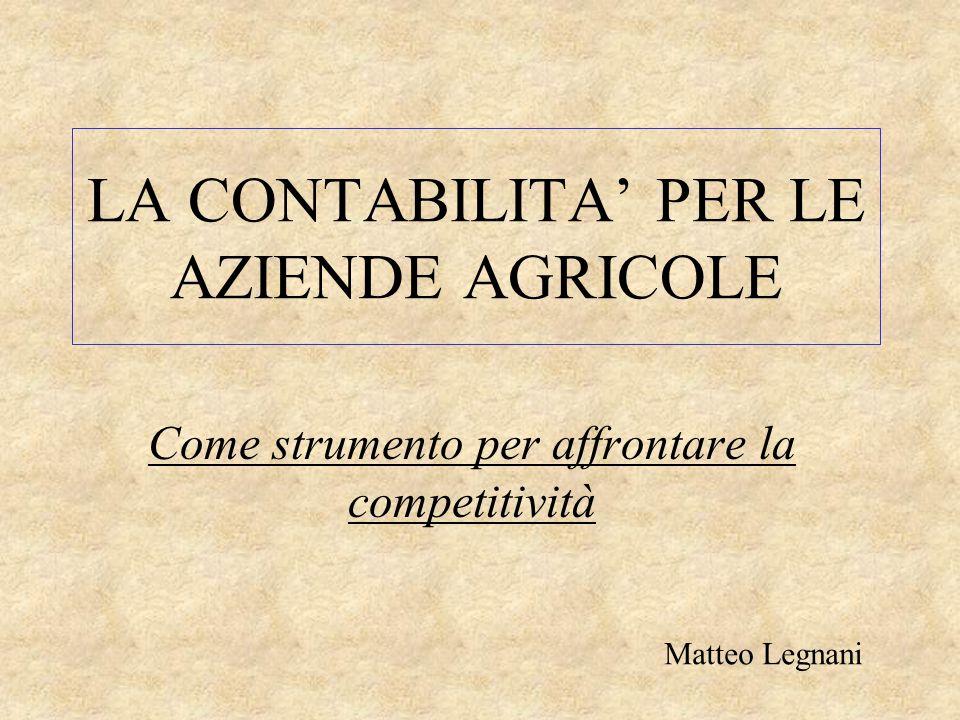 LA CONTABILITA' PER LE AZIENDE AGRICOLE Come strumento per affrontare la competitività Matteo Legnani