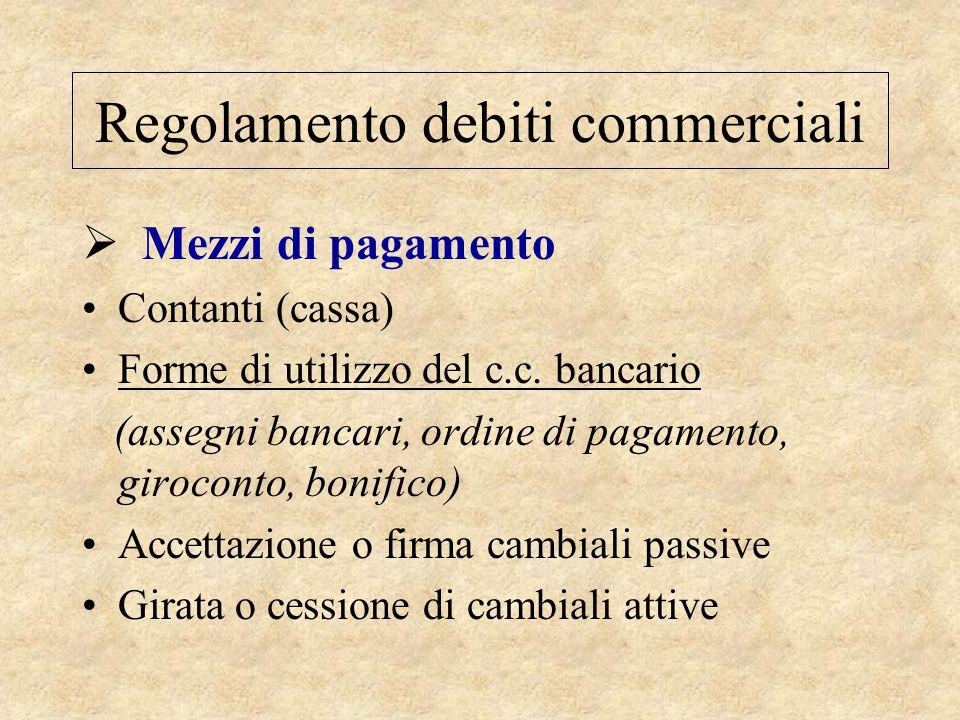 Regolamento debiti commerciali  Mezzi di pagamento Contanti (cassa) Forme di utilizzo del c.c. bancario (assegni bancari, ordine di pagamento, giroco