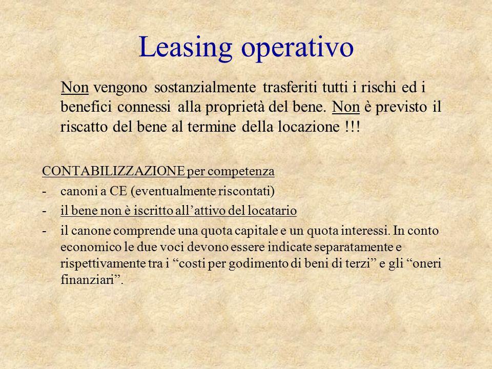 Leasing operativo Non vengono sostanzialmente trasferiti tutti i rischi ed i benefici connessi alla proprietà del bene. Non è previsto il riscatto del