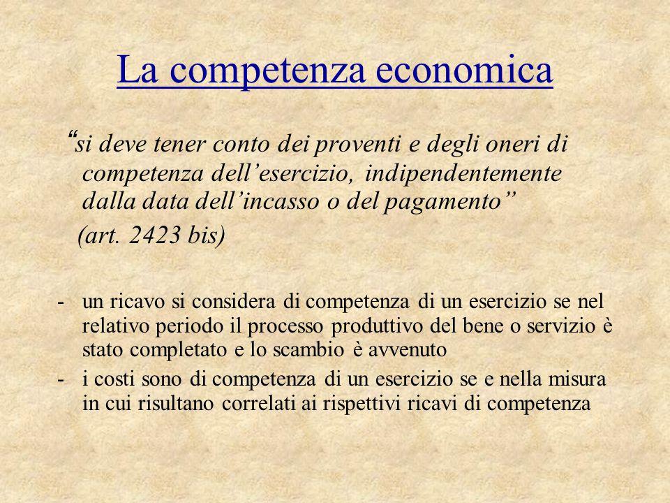 """La competenza economica """" si deve tener conto dei proventi e degli oneri di competenza dell'esercizio, indipendentemente dalla data dell'incasso o del"""