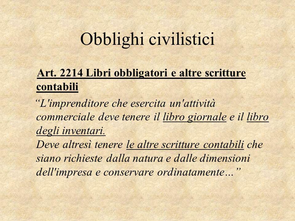 """Obblighi civilistici Art. 2214 Libri obbligatori e altre scritture contabili """"L'imprenditore che esercita un'attività commerciale deve tenere il libro"""