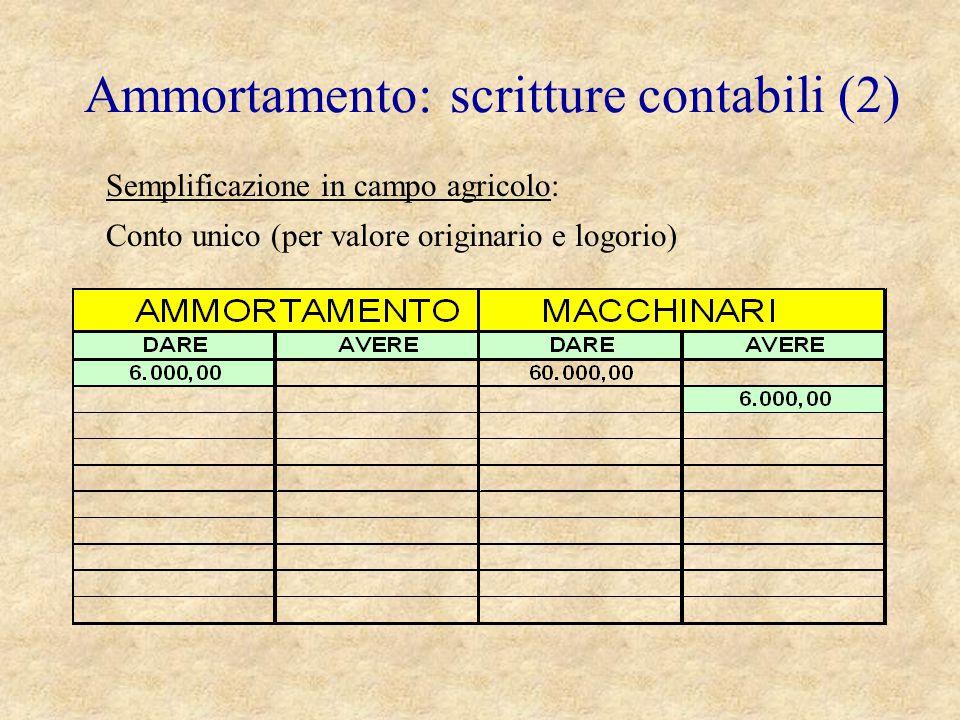 Ammortamento: scritture contabili (2) Semplificazione in campo agricolo: Conto unico (per valore originario e logorio)