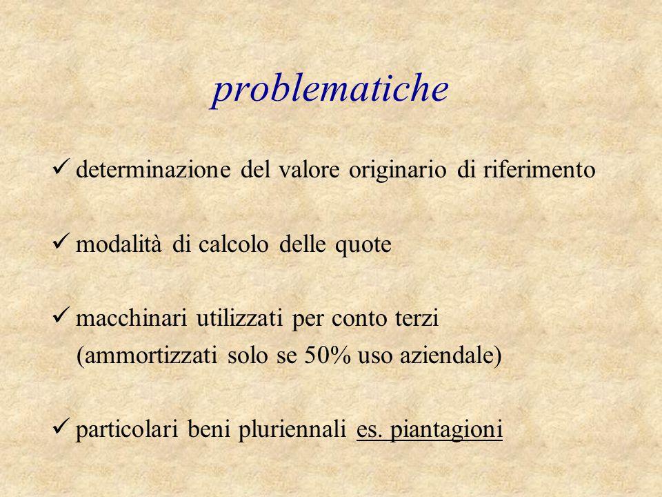 problematiche determinazione del valore originario di riferimento modalità di calcolo delle quote macchinari utilizzati per conto terzi (ammortizzati