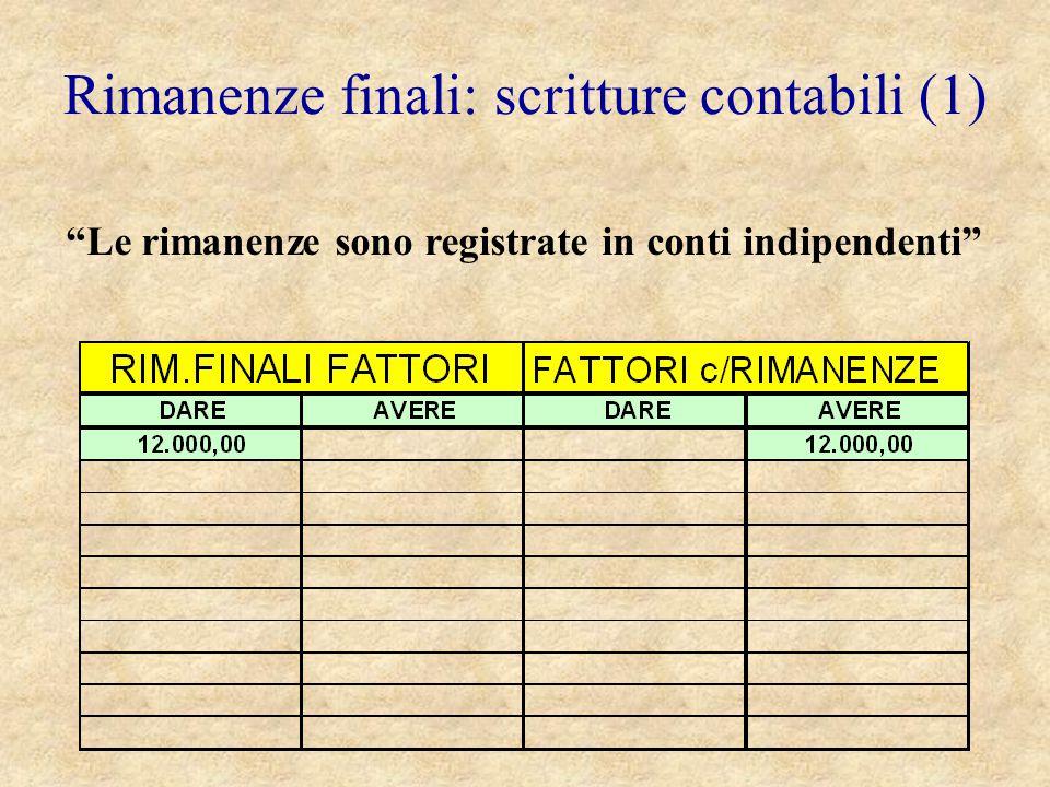 """Rimanenze finali: scritture contabili (1) """"Le rimanenze sono registrate in conti indipendenti"""""""