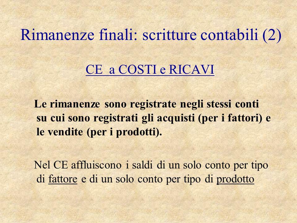 CE a COSTI e RICAVI Le rimanenze sono registrate negli stessi conti su cui sono registrati gli acquisti (per i fattori) e le vendite (per i prodotti).