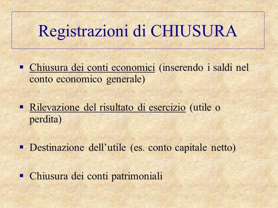 Registrazioni di CHIUSURA  Chiusura dei conti economici (inserendo i saldi nel conto economico generale)  Rilevazione del risultato di esercizio (ut