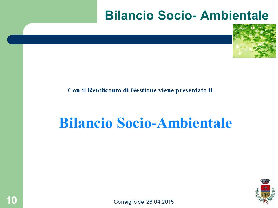 10 Con il Rendiconto di Gestione viene presentato il Bilancio Socio-Ambientale Consiglio del 28.04.2015
