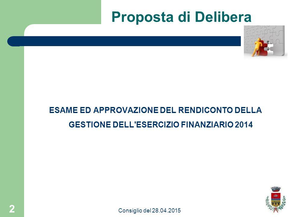 2 Proposta di Delibera ESAME ED APPROVAZIONE DEL RENDICONTO DELLA GESTIONE DELL ESERCIZIO FINANZIARIO 2014 Consiglio del 28.04.2015