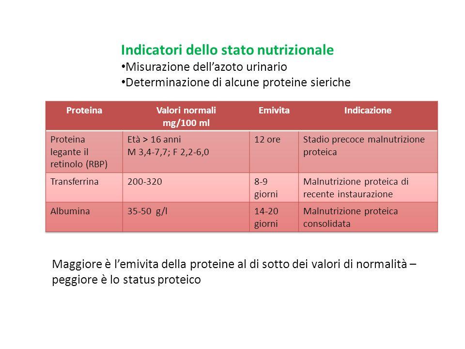 Indicatori dello stato nutrizionale Misurazione dell'azoto urinario Determinazione di alcune proteine sieriche Maggiore è l'emivita della proteine al