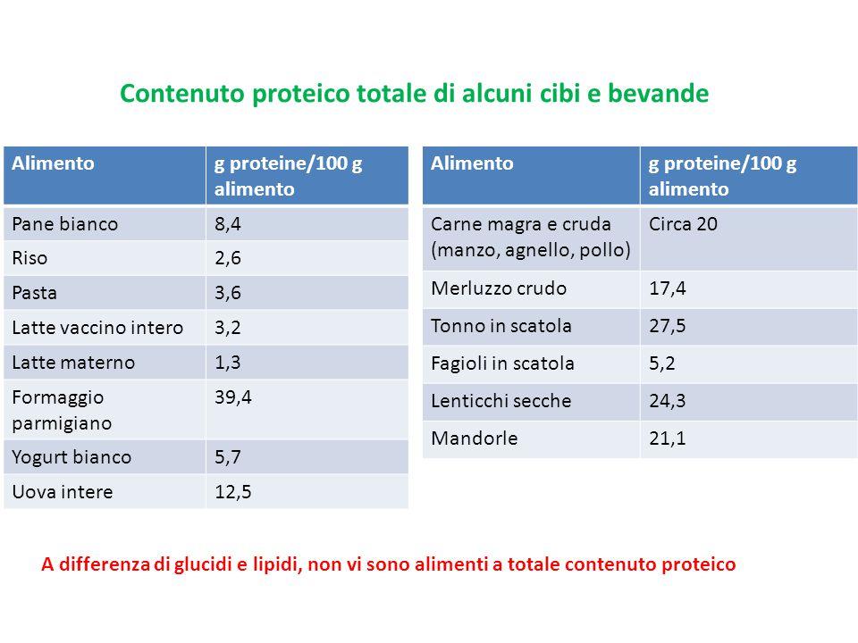 Contenuto proteico totale di alcuni cibi e bevande Alimentog proteine/100 g alimento Pane bianco8,4 Riso2,6 Pasta3,6 Latte vaccino intero3,2 Latte mat