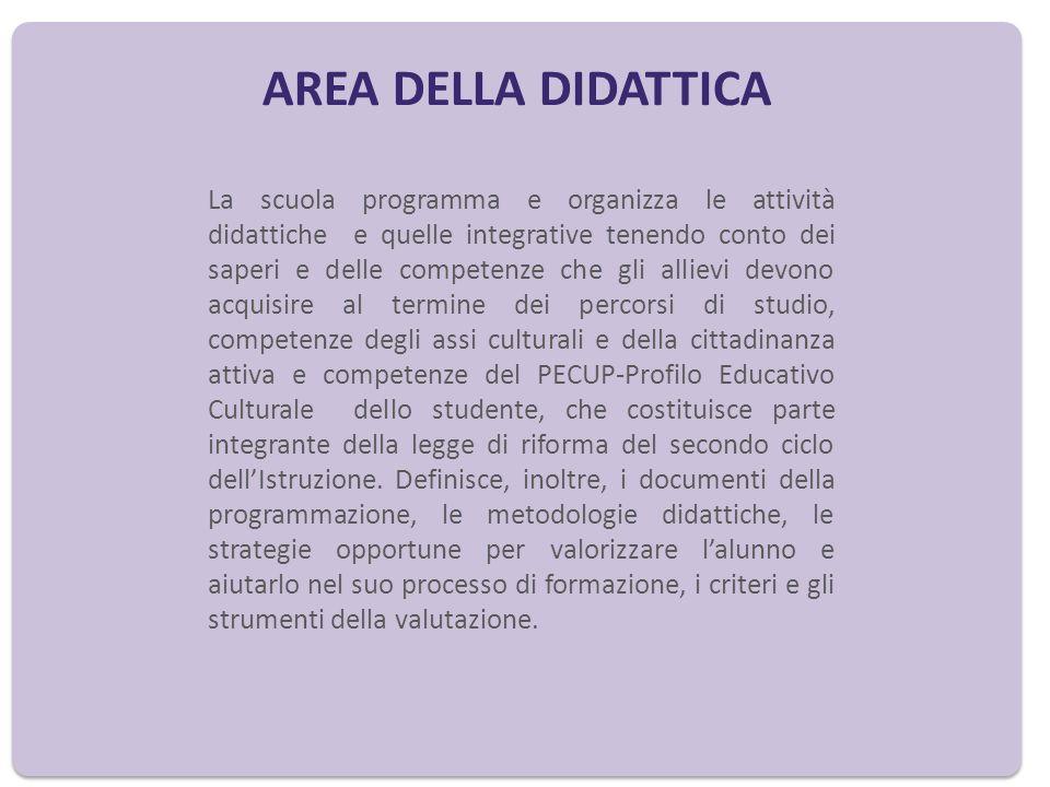 AREA DELLA DIDATTICA La scuola programma e organizza le attività didattiche e quelle integrative tenendo conto dei saperi e delle competenze che gli a