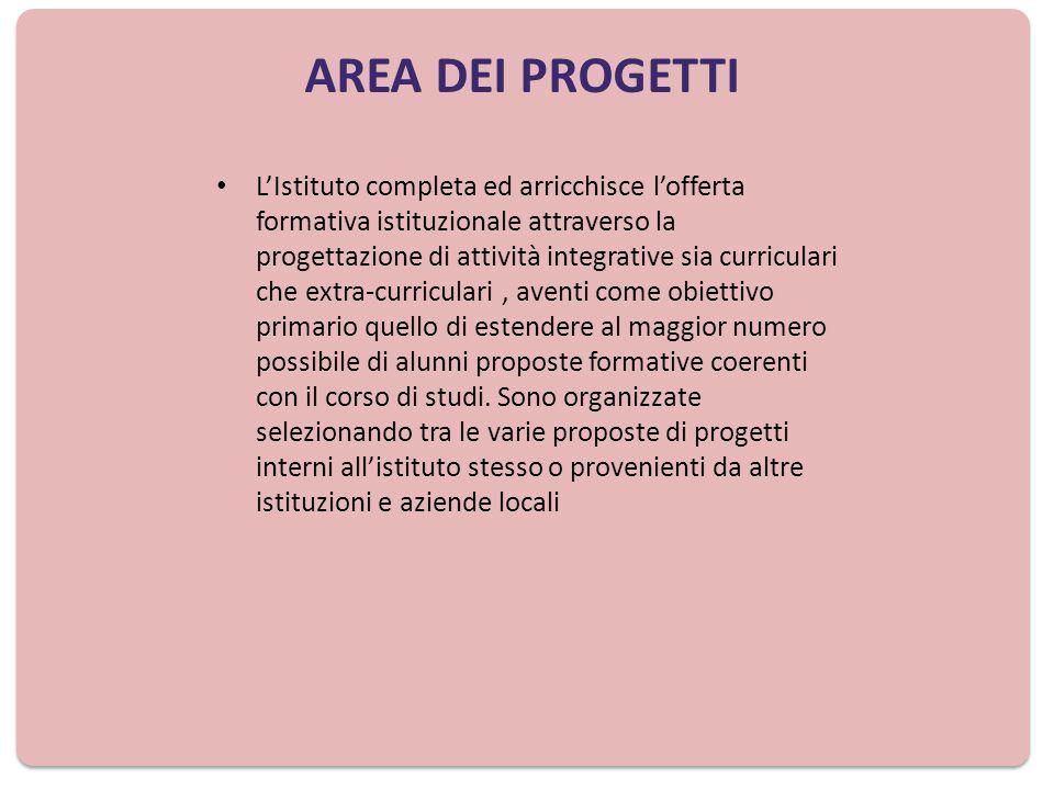 AREA PROGETTUALE Progettazione del CdC PROGETTI CURRICULARI Piano Integrato ( PON) Progettazione d'Istituto (FIS) Stage formativi linguistici e aziendali ( Procedura Straord.