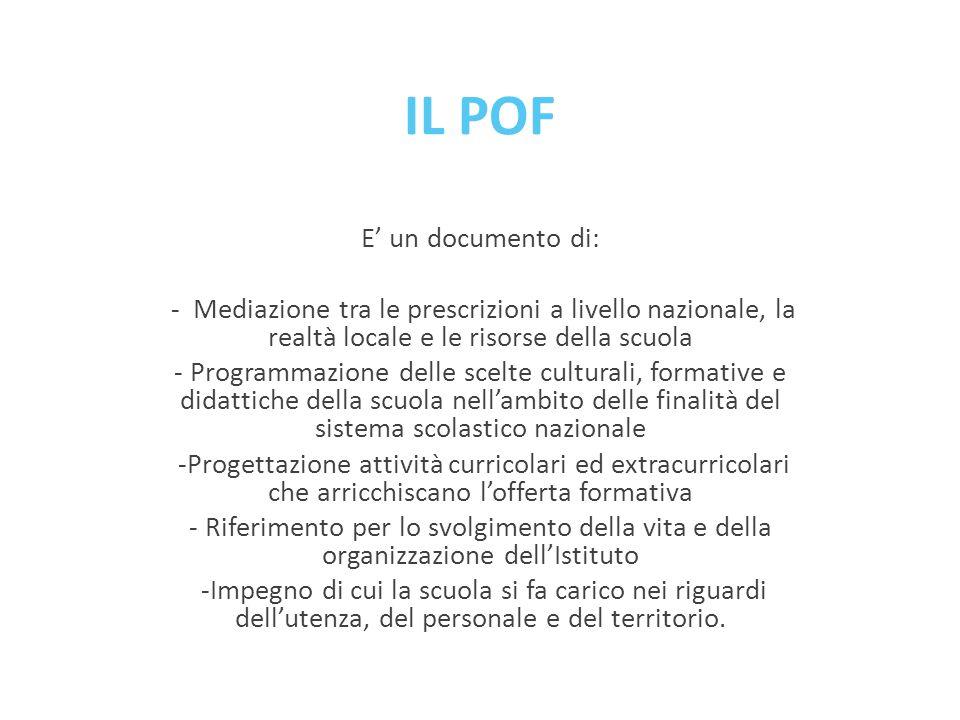 IL POF E' un documento di: - Mediazione tra le prescrizioni a livello nazionale, la realtà locale e le risorse della scuola - Programmazione delle sce