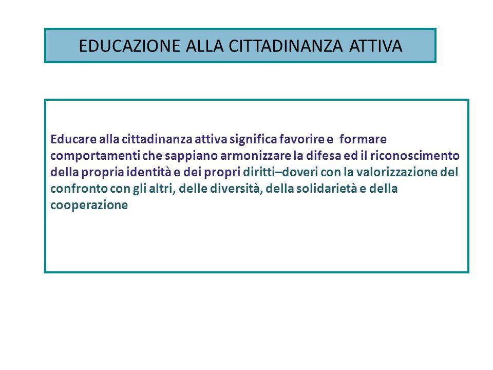EDUCAZIONE ALLA CITTADINANZA ATTIVA Educare alla cittadinanza attiva significa favorire e formare comportamenti che sappiano armonizzare la difesa ed