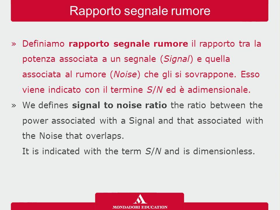 »Definiamo rapporto segnale rumore il rapporto tra la potenza associata a un segnale (Signal) e quella associata al rumore (Noise) che gli si sovrappone.