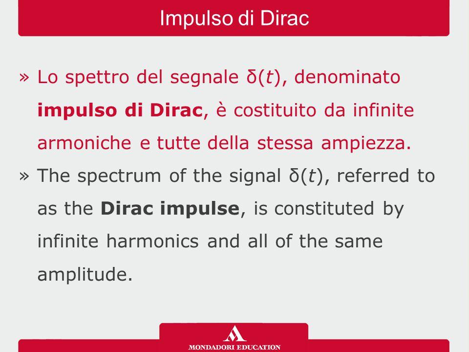 »Lo spettro del segnale δ(t), denominato impulso di Dirac, è costituito da infinite armoniche e tutte della stessa ampiezza.