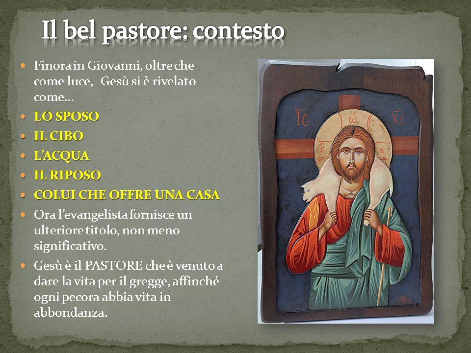 Finora in Giovanni, oltre che come luce, Gesù si è rivelato come… LO SPOSO LO SPOSO IL CIBO IL CIBO L'ACQUA L'ACQUA IL RIPOSO IL RIPOSO COLUI CHE OFFR