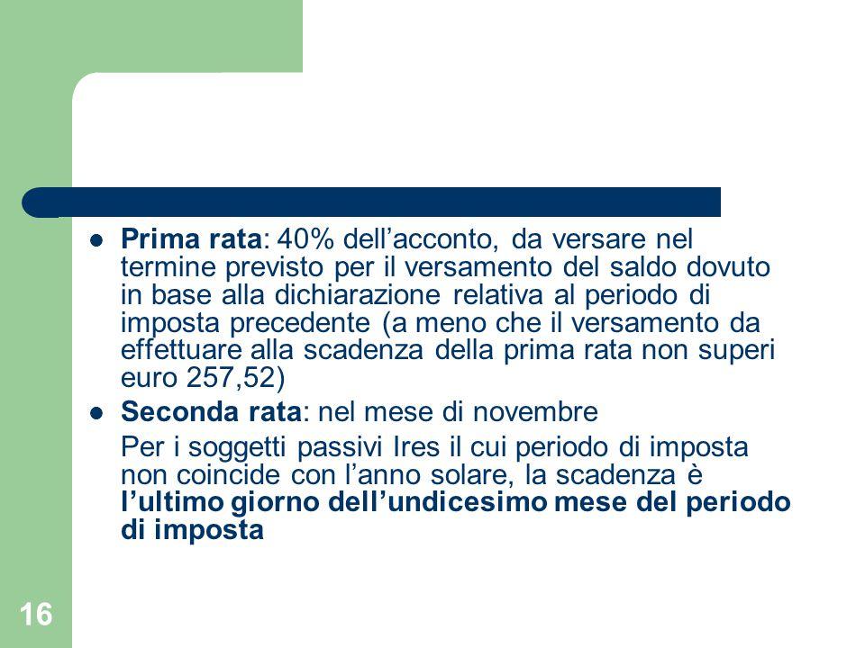 16 Prima rata: 40% dell'acconto, da versare nel termine previsto per il versamento del saldo dovuto in base alla dichiarazione relativa al periodo di